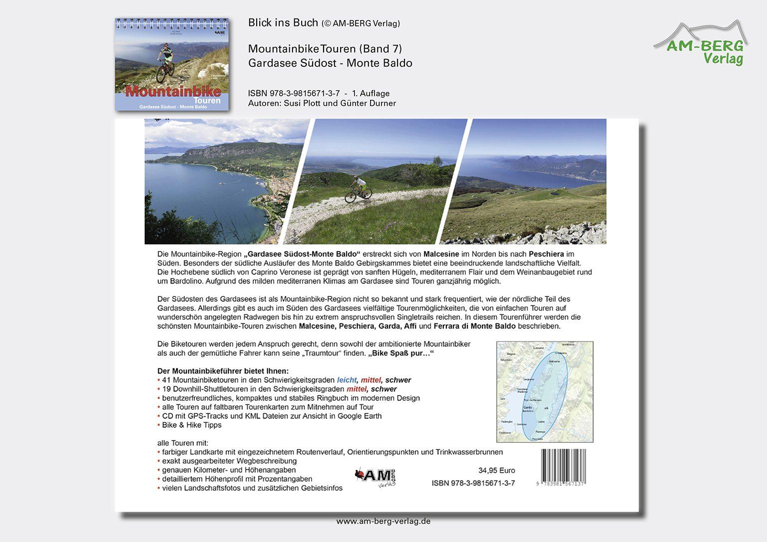 Mountainbike Touren Gardasee Südost - Monte Baldo_Rückseite Buch