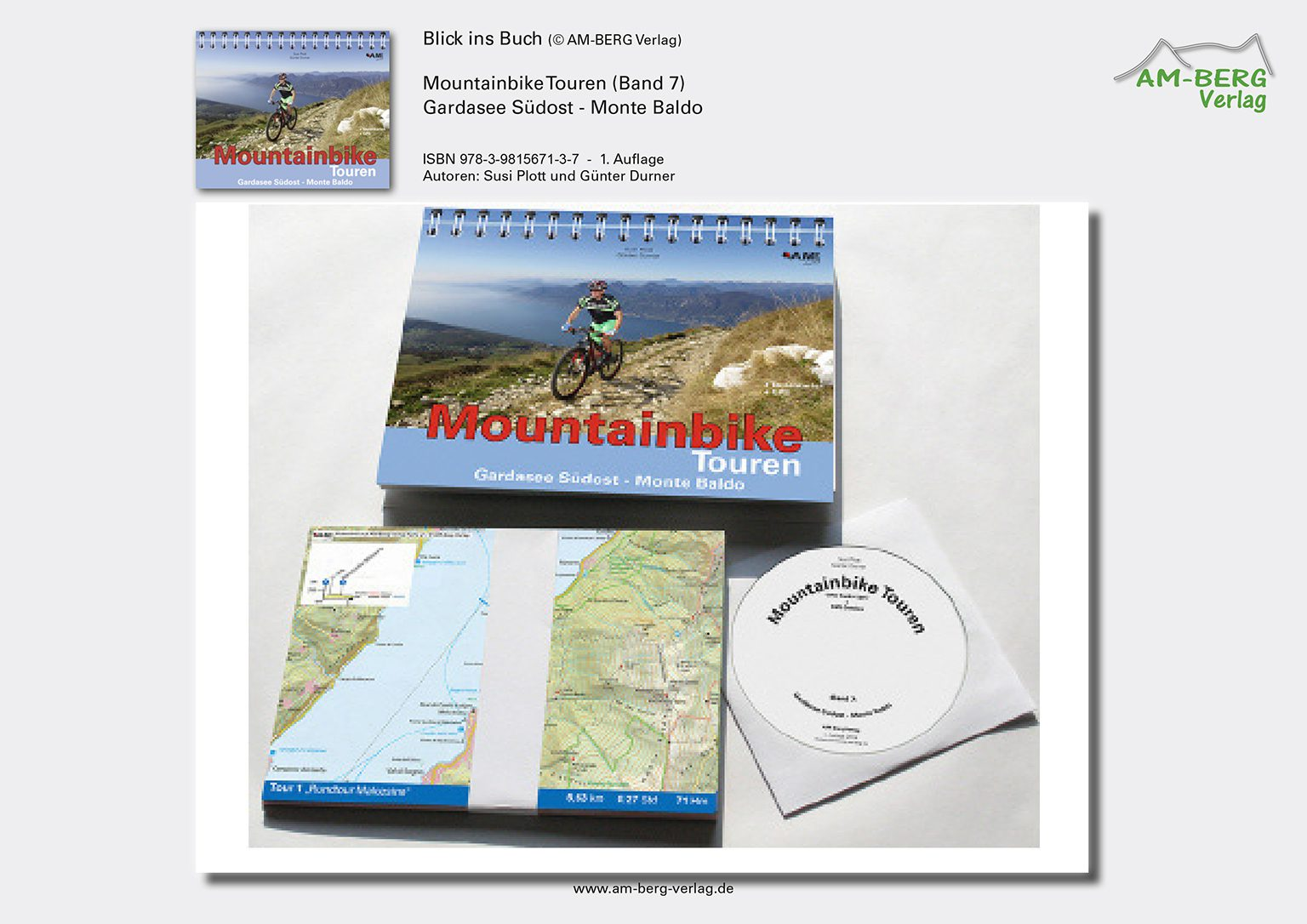 Mountainbike Touren Gardasee Südost - Monte Baldo_Ringbuch, Tourenkarten, CD